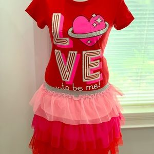 Matching Sets - Set of Valentines shirt and skirt.
